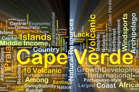 praia: Background concept wordcloud illustration of Cape Verde glowing light
