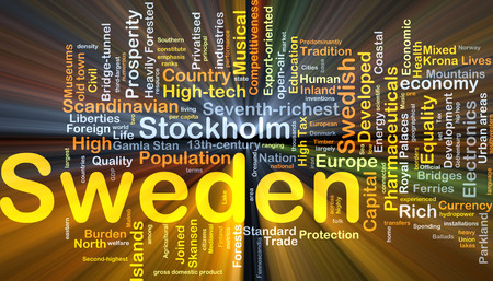 orientated: Background concept wordcloud illustration of Sweden glowing light
