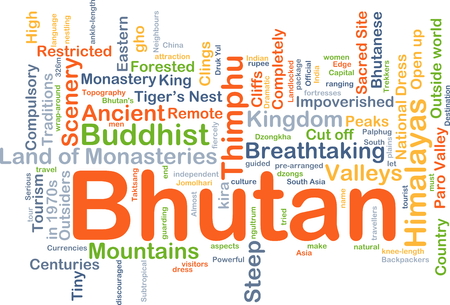outsiders: Background concept wordcloud illustration of Bhutan
