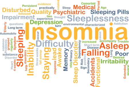 inability: Background concept wordcloud illustration of insomnia
