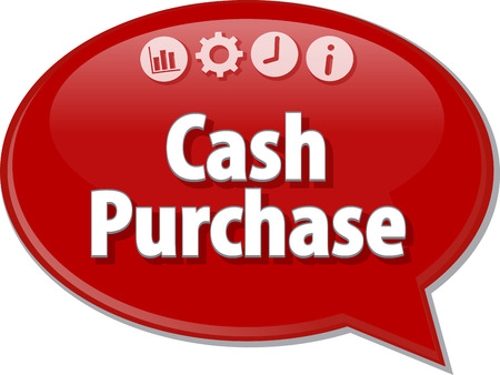 saying: Speech bubble dialog illustration of business term saying Cash Purchase Stock Photo