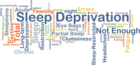 tantrums: Background concept wordcloud illustration of sleep deprivation Stock Photo