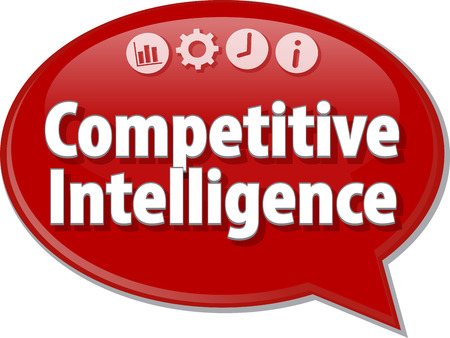 intelligence: Speech bubble dialog illustration of business term saying Competitive Intelligence