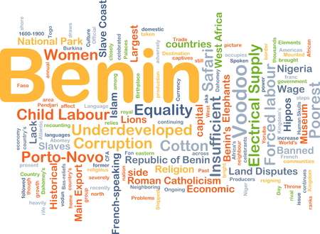 wade: Background concept wordcloud illustration of Benin
