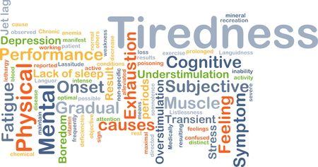 gradual: Background concept wordcloud illustration of tiredness Stock Photo