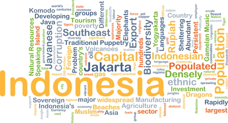 foreign country: Background concept wordcloud illustration of Indonesia