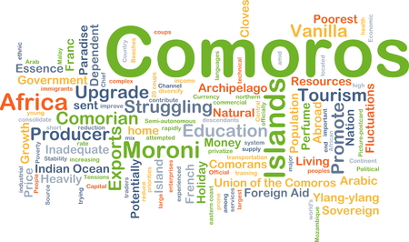 potentially: Background concept wordcloud illustration of Comoros Stock Photo