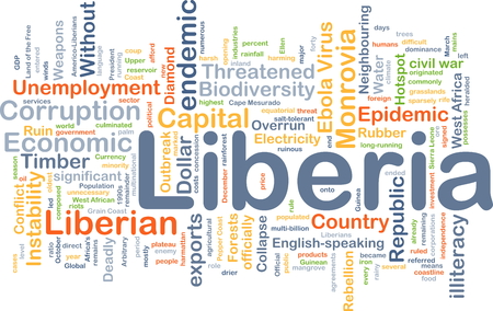 illiteracy: Background concept wordcloud illustration of Liberia