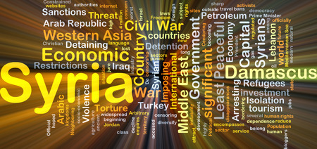middle east war: Background concept wordcloud illustration of Syria glowing light