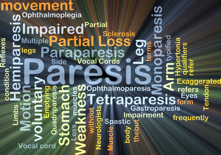 Background concept wordcloud illustration of paresis glowing light Stock Photo