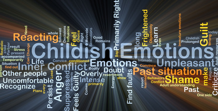 uncomfortable: Background concept wordcloud illustration of childish emotions glowing light