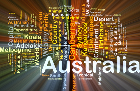 liberties: Background concept wordcloud illustration of Australia glowing light