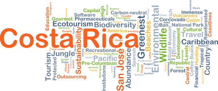 costa rica: Background concept wordcloud illustration of Costa Rica