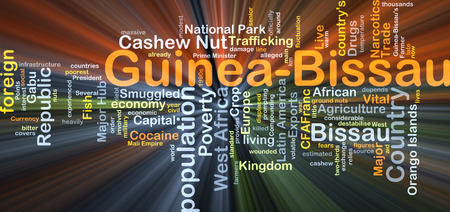 trafficking: Background concept wordcloud illustration of Guinea Bissau glowing light