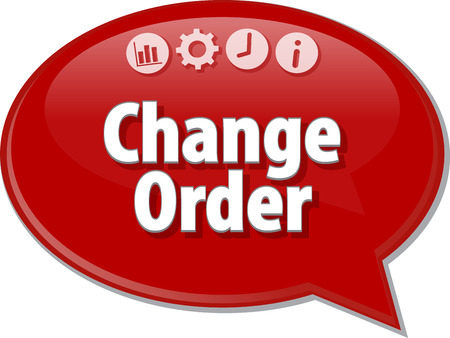 term: Speech bubble dialog illustration of business term saying Change Order