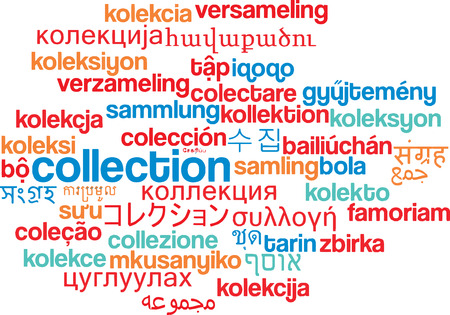 collect: Background concept wordcloud multilanguage international many language illustration of collection