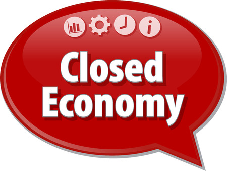 term: Speech bubble dialog illustration of business term saying Closed Economy