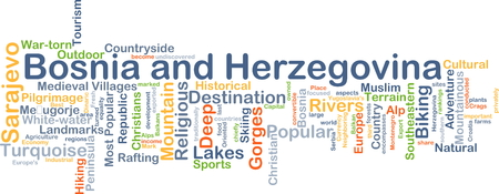 pilgrimage: Background concept wordcloud illustration of Bosnia and Herzegovina Stock Photo