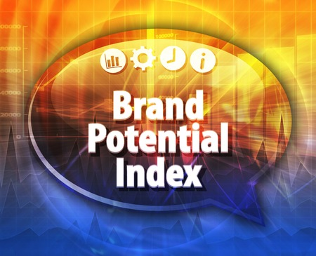 potential: Speech bubble dialog illustration of business term saying Brand Potential Index Stock Photo