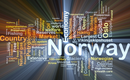 extensive: Background concept wordcloud illustration of Norway glowing light Stock Photo