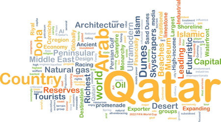 financially: Background concept wordcloud illustration of Qatar