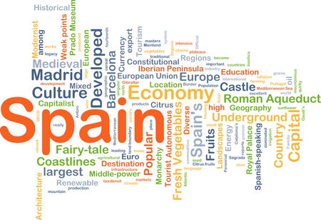 developed: Background concept wordcloud illustration of Spain