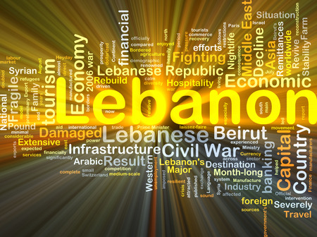 middle east fighting: Background concept wordcloud illustration of Lebanon glowing light