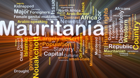 kidnapped: Background concept wordcloud illustration of Mauritania glowing light Stock Photo