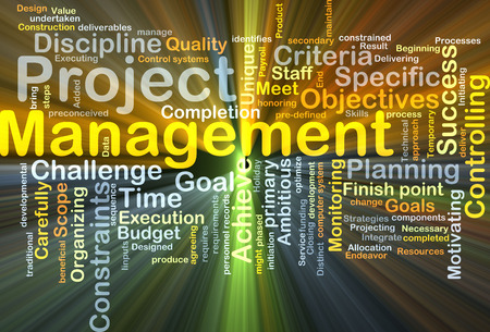 constraints: Background concept wordcloud illustration of project management glowing light