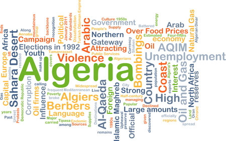 bombings: Background concept wordcloud illustration of Algeria