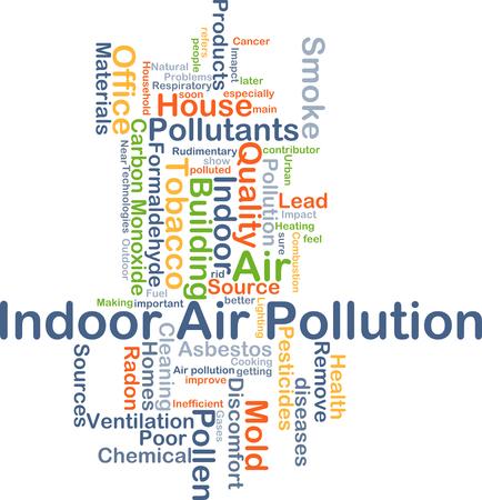 contaminaci�n de aire: Ilustraci�n de fondo wordcloud concepto de la contaminaci�n del aire en interiores Foto de archivo