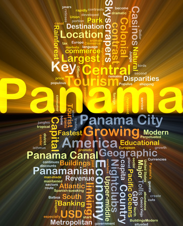 panamanian: Background concept wordcloud illustration of Panama glowing light Stock Photo