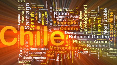 santiago: Background concept wordcloud illustration of Chile glowing light