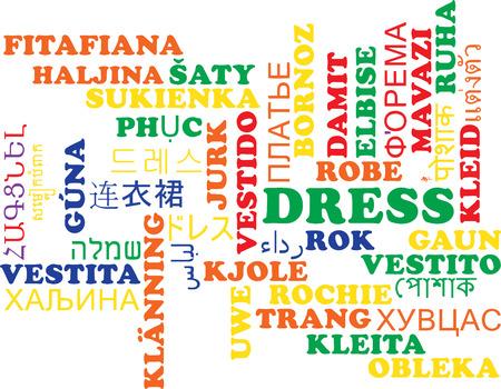 Achtergrond concept wordcloud meertalige internationale vele taal illustratie van kleding Stockfoto