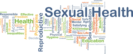 educacion sexual: Ilustración de fondo wordcloud concepto de salud sexual