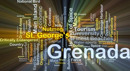 Achtergrond concept wordcloud illustratie van Grenada gloeiende licht