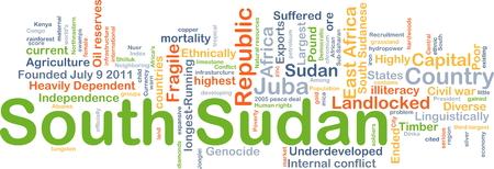 Achtergrond concept wordcloud illustratie van Zuid-Soedan