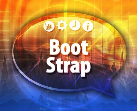 Tekstballon dialoogvenster illustratie van zakelijke termijn zeggen Bootstrap Acquisition