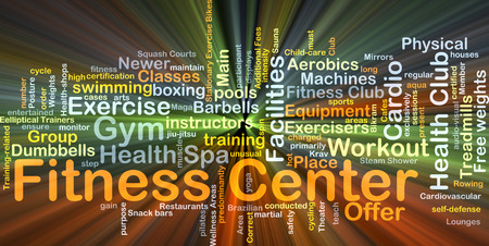 Background concept wordcloud illustration of fitness center glowing light Stock Photo