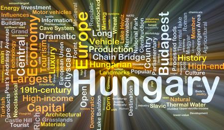Achtergrond concept wordcloud illustratie van Hongarije gloeiende licht
