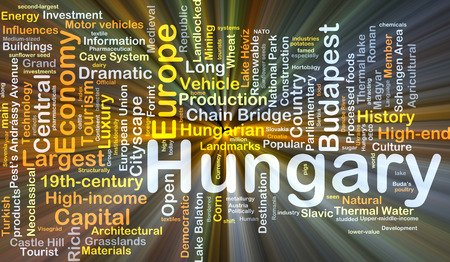 schengen: Background concept wordcloud illustration of Hungary glowing light