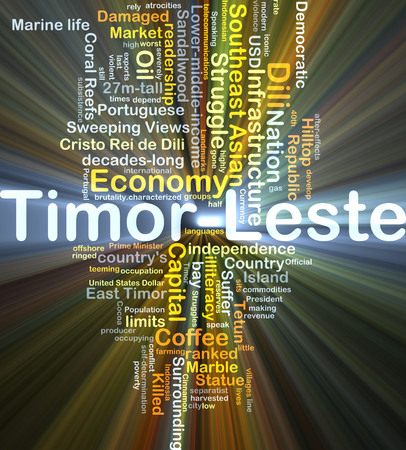 Background concept wordcloud illustration of Timor-Leste glowing light