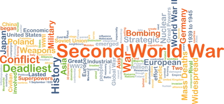 widespread: Background concept wordcloud illustration of Second World War Stock Photo
