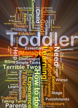 tantrums: Background concept wordcloud illustration of toddler glowing light