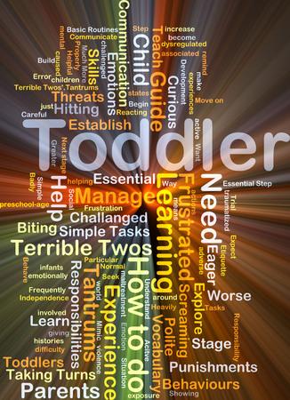 tantrums: Sfondo concetto illustrazione wordcloud di luce incandescente bambino