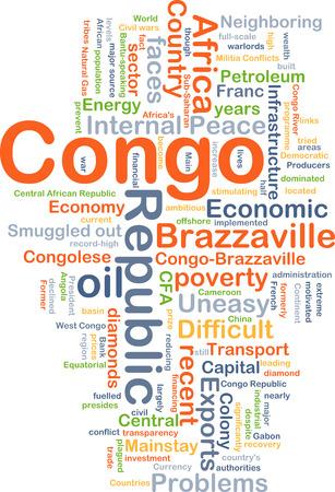 Achtergrond concept wordcloud illustratie van de Republiek van de Kongo Stockfoto
