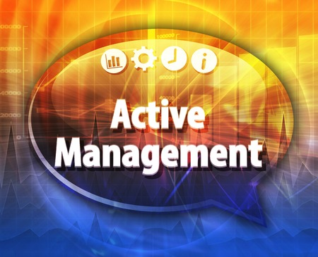 Tekstballon dialoogvenster illustratie van zakelijke termijn zeggen Actief beheer Stockfoto