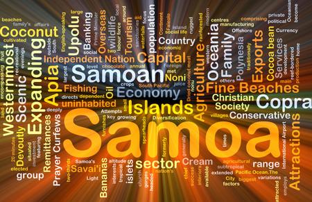 uninhabited: Background concept wordcloud illustration of Samoa glowing light Stock Photo