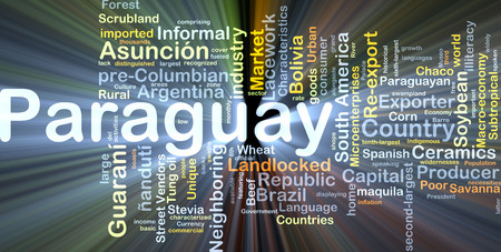 landlocked country: Background concept wordcloud illustration of Paraguay glowing light