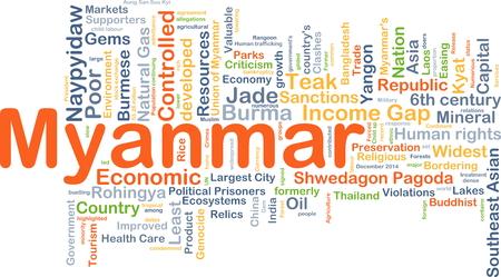 criticism: Background concept wordcloud illustration of Myanmar Stock Photo